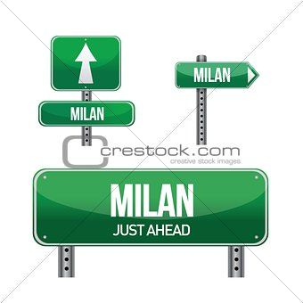 Milan city road sign