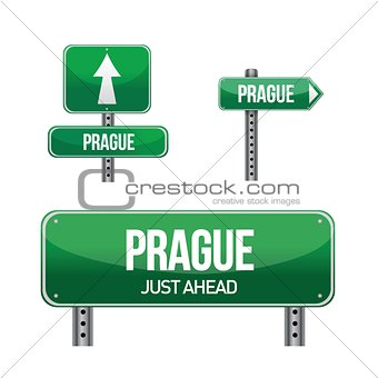 prague city road sign