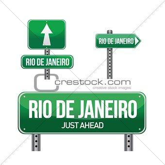 rio de janeiro city road sign
