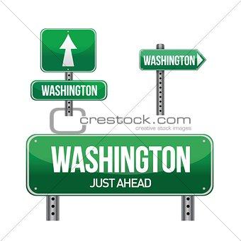 washington city road sign