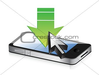 Smartphone with green arrow. download concept