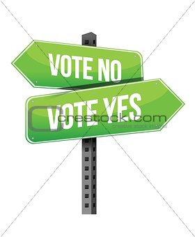 vote yes or no road sign