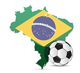 Brazilian flag map and soccer ball isolated