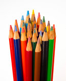 Art Supplies Color Pencils in A Group on White