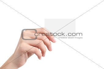 Beautiful woman hand showing a blank business card