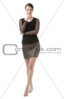 Business Woman standing, contemplating