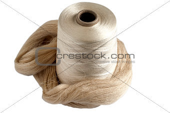 Silk yarn bobbin and raw silk skein