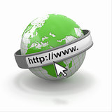 Concept of internet browser. Earth and cursor