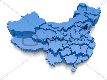 Three-dimensional map of China