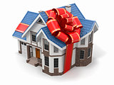 House gift. Mansion with ribbon and bow