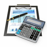 Financial concept. Stock chart, calculator and pen.