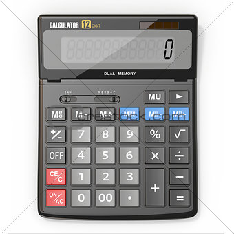 Calculator on white isolated background