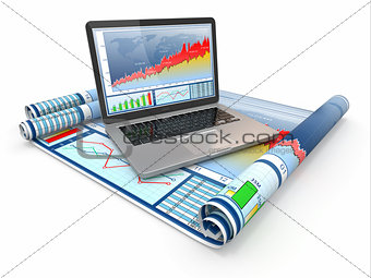 Business analyze. Laptop, graph and diagram.