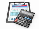 Business concept. Calculator, diagram, grapics and spreadsheet.