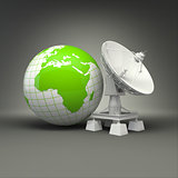 Satellite dish and earth on grey background