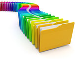 Row of computer folders. Rainbow. 3d