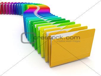 Row of computer folders. Rainbow. 3d
