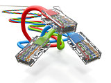 Three computer network cables rj45. 3d