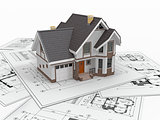 Residential house on architect blueprints. Housing project.