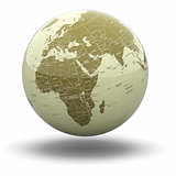 Political world globe. 3d