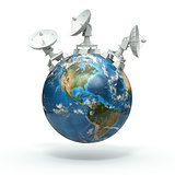 Satellite dishes on earth. 3d