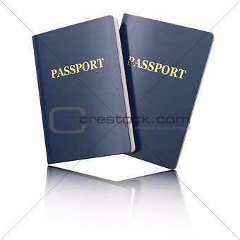 Blank passport on white isolated background.