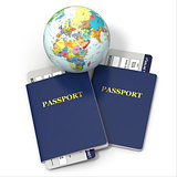 World travel. Earth, airline tickets and passport. 3d