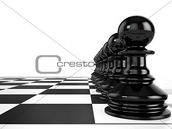 Black pawns stand in a row on a chessboard