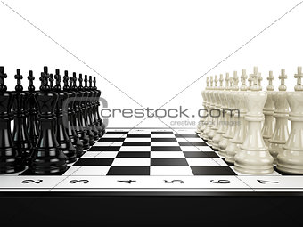 Black and white chess kings stand in a row opposite to each other on a chessboard