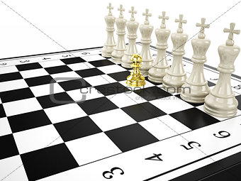 gold pawn and some white kings - strategy and leadership concept