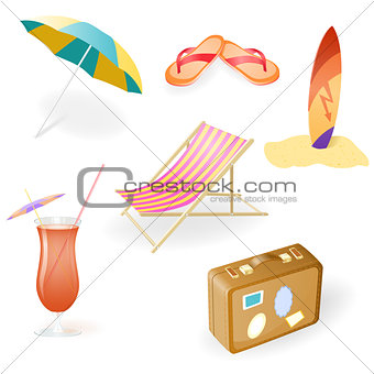 Vector Beach Set From Chaise Lounge, Beach  Umbrella, Beach Footwear, Cocktail, Suitcase and Surfboard