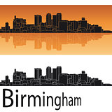 Birmingham skyline in orange background