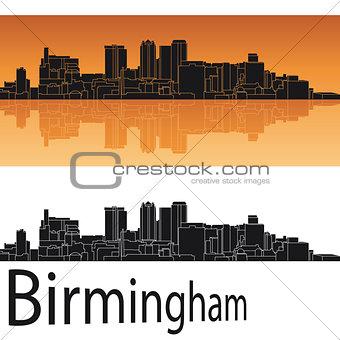 Birmingham skyline in orange background
