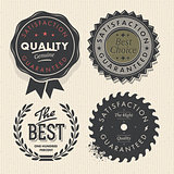 Vector set premium quality and guarantee labels with retro vintage styled design