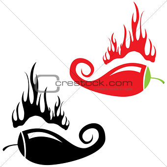 Red hot chili peppers on white background. Vector illustration
