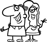 black and white happy couple cartoon
