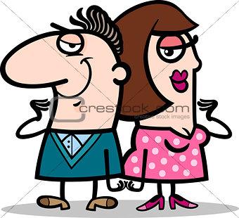 cheerful man and woman couple cartoon