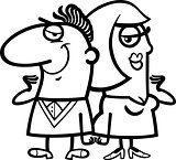 black and white cheerful couple cartoon