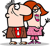 happy man and woman couple cartoon
