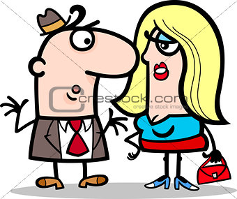 funny man and woman couple cartoon