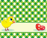 checkered background with chicken and easter eggs