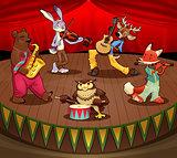 Musician animals on stage.