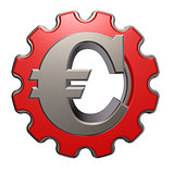 euro symbol and gear wheel