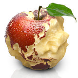 Apple with carved continents. Asia