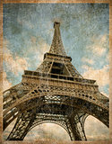 vintage toned postcard of Eiffel tower in Paris