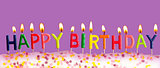Happy birthday lit candles on purple background