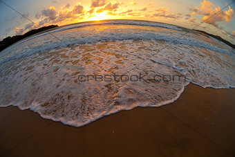 sea beach sunset shot made by fisheye lens