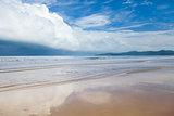 storm clouds on tropical beach before rain