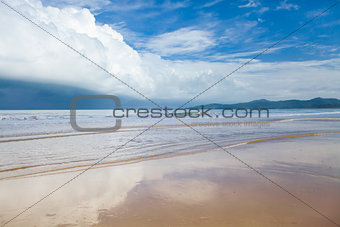 storm clouds on tropical beach before rain