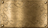 grunge brass plate with floral pattern